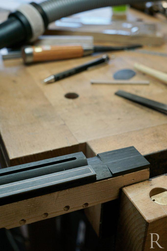shaping classical guitar bridge